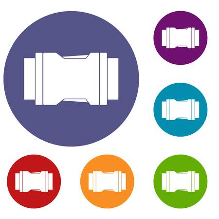 aluminium texture: Side release buckle icons set Illustration