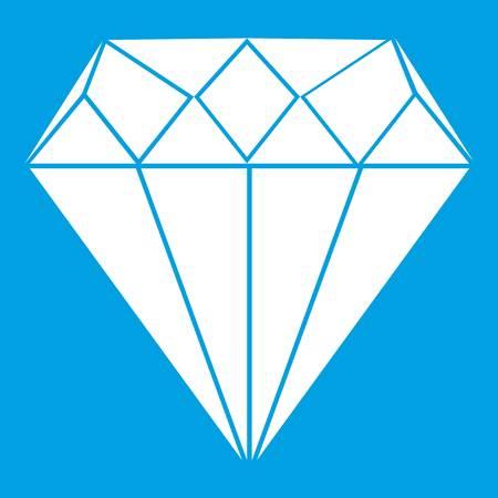 Diamond icon white isolated on blue background vector illustration