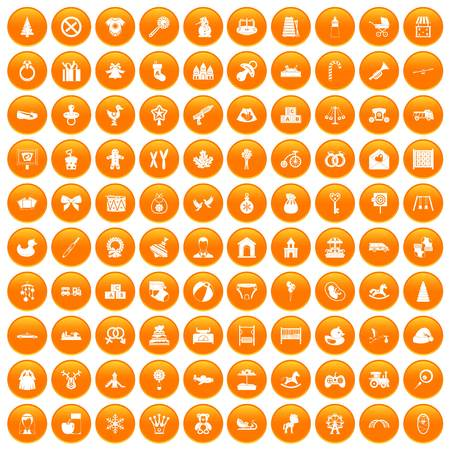 100 baby icons set orange