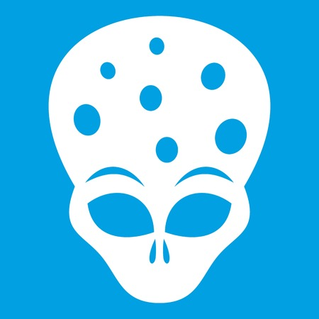 ufology: Extraterrestrial alien head icon white isolated on blue background vector illustration