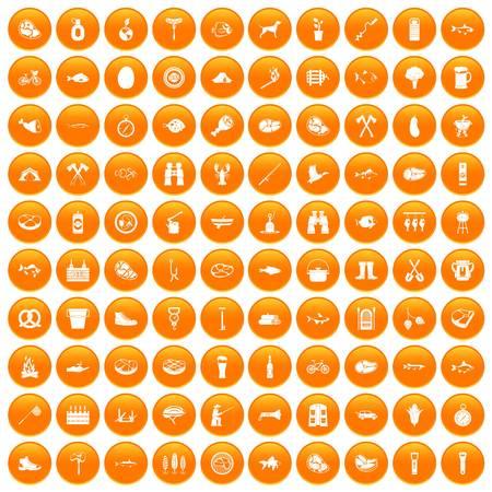 bbq barrel: 100 BBQ icons set orange Illustration