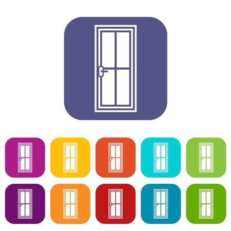Glass door icons set