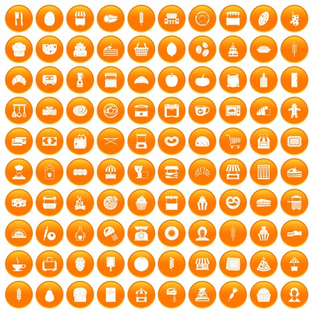 100 bakery icons set orange Illustration