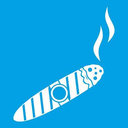 smoldering: Cigar icon white isolated on blue background vector illustration Illustration