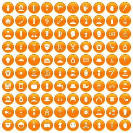 100 barber icons set orange Illustration