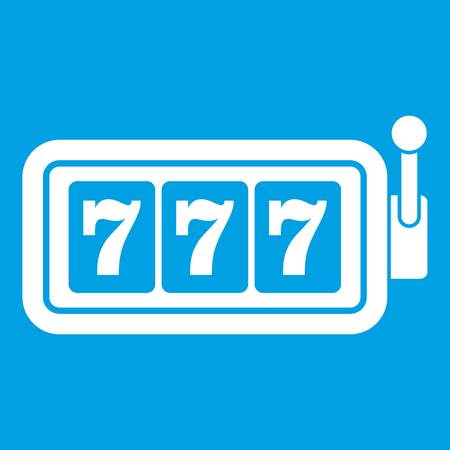 Lucky seven on slot machine icon white isolated on blue background vector illustration