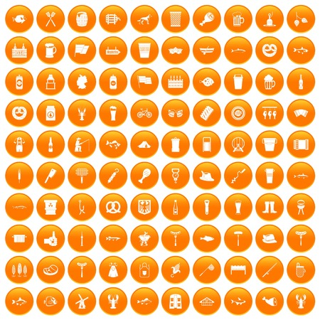 bbq barrel: 100 beer icons set in orange circle isolated on white vector illustration