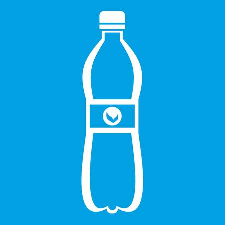 Bottle of water icon white isolated on blue background vector illustration