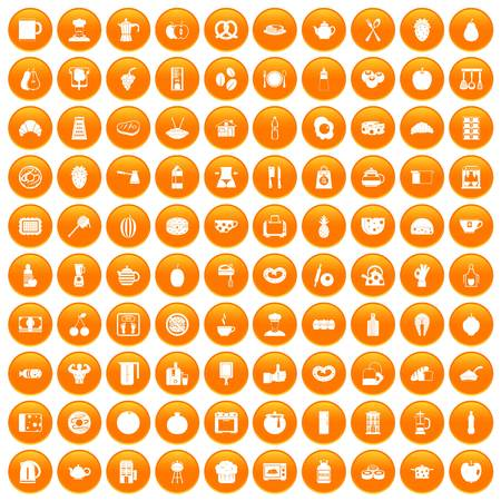 100 breakfast icons set in orange circle isolated on white vector illustration Illustration