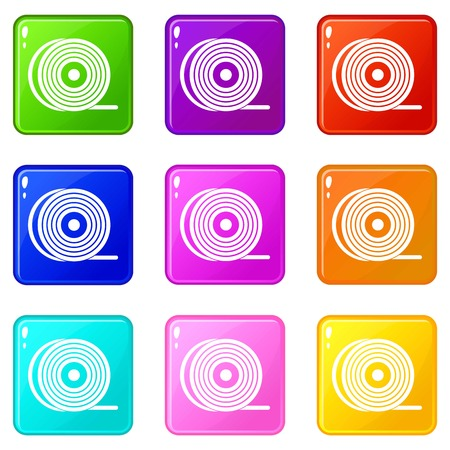 Abs or pla filament coil icons of 9 color set isolated vector illustration Illustration