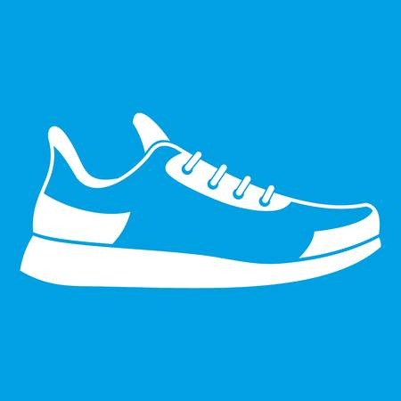 Sneaker icon white isolated on blue background vector illustration