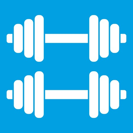 Two dumbbells icon white isolated on blue background vector illustration