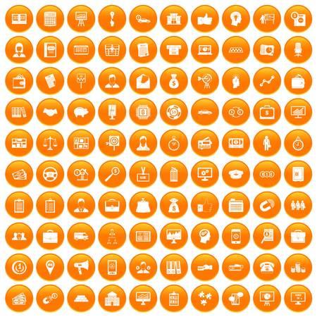 100 business group icons set in orange circle isolated on white vector illustration Ilustração