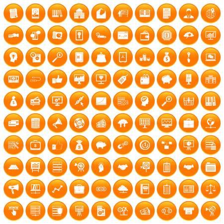 100 business process icons set orange