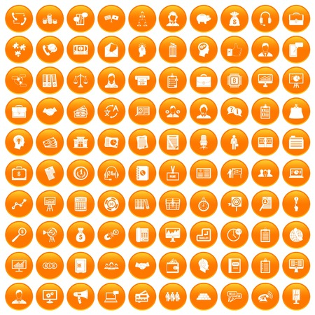 100 business people icons set in orange circle isolated on white vector illustration