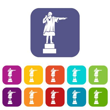 Columbus monument icons set