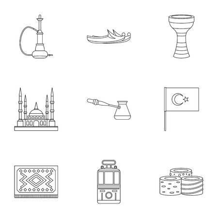 saz: Turkey equipment icons set. Outline set of 9 Turkey equipment vector icons for web isolated on white background Illustration