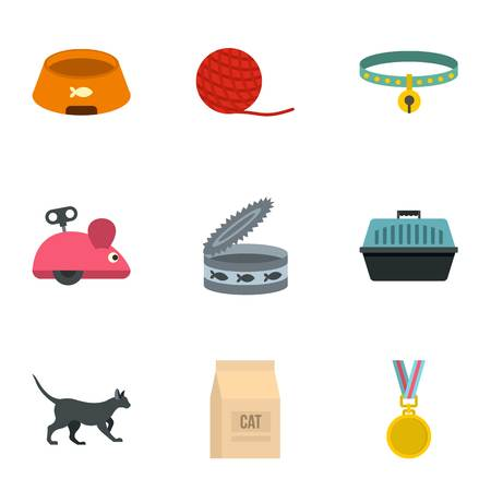 Cat equipment icons set. Outline set of 9 cat equipment vector icons for web isolated on white background