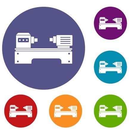 Lathe iconos de la máquina establecidos en círculo rojo, azul y color verde para la web Ilustración de vector