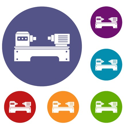 Lathe machine icons set in flat circle red, blue and green color for web