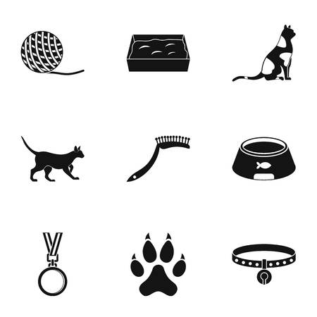 Cat equipment icons set. Simple set of 9 cat equipment vector icons for web isolated on white background Illustration