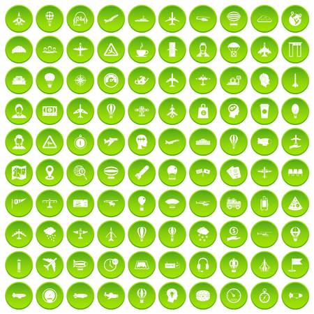 100 aviation icons set green