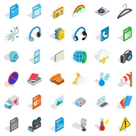 xls: Mobile app icons set, isometric style