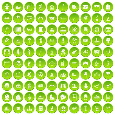 swimming candles: 100 amusement icons set green Illustration