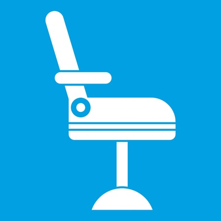 Chair icon white isolated on blue background vector illustration