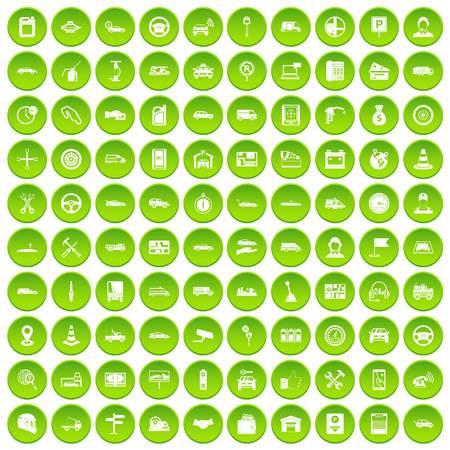 100 automatische pictogrammen ingesteld op groen
