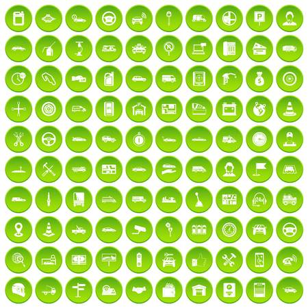 100 auto icons set green