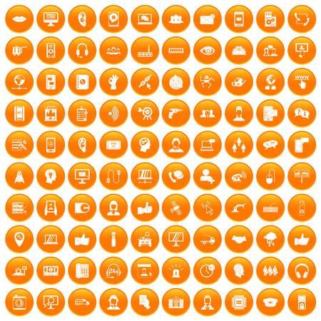 100 call center icons set orange