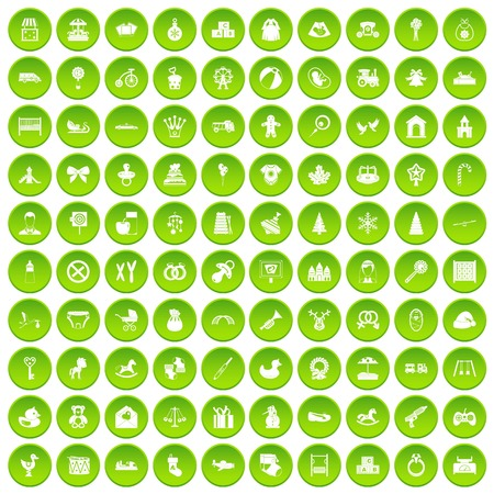 100 baby icons set green