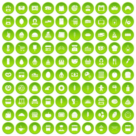 100 bakery icons set green