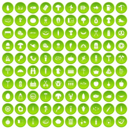 100 barbecue icons set green