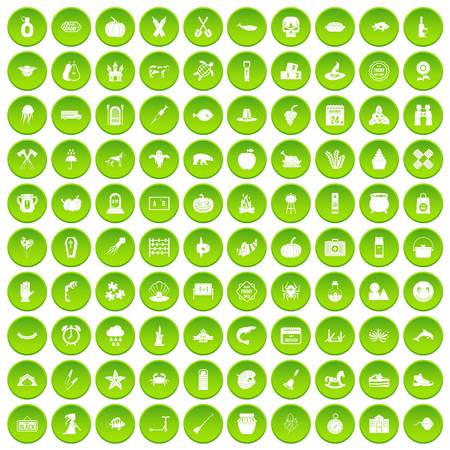 100 autumn holidays icons set green Illustration