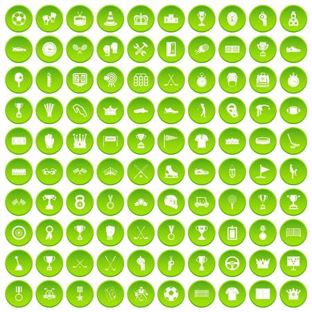 100 awards icons set green