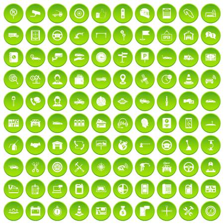 100 auto service center icons set green