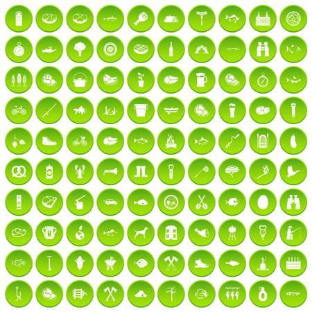 100 BBQ icons set green Illustration