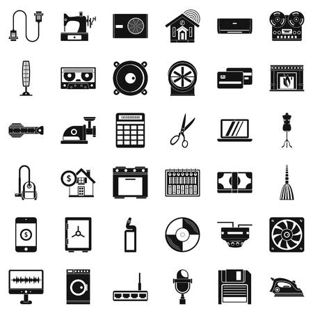iron fan: Household icons set. Simple style of 36 household vector icons for web isolated on white background