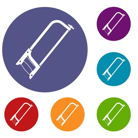 Hacksaw icons set in flat circle red, blue and green color for web
