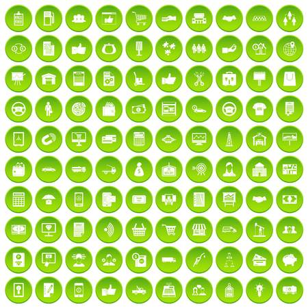 100 business icons set green
