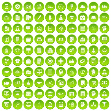 100 business strategy icons set green Illustration