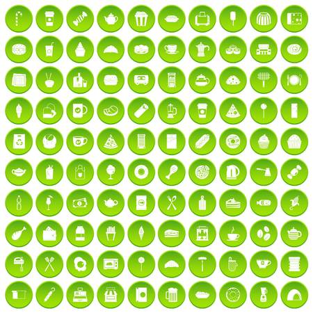 100 cafe icons set green