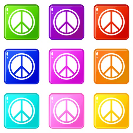 pacifist: Sign hippie peace icons of 9 color set isolated vector illustration Illustration