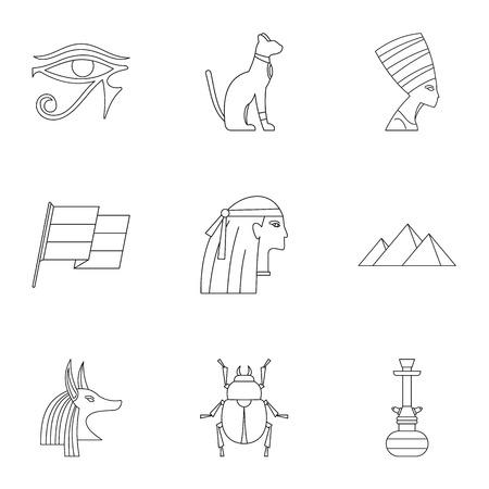 silueta de gato: Cairo travel icons set, outline style