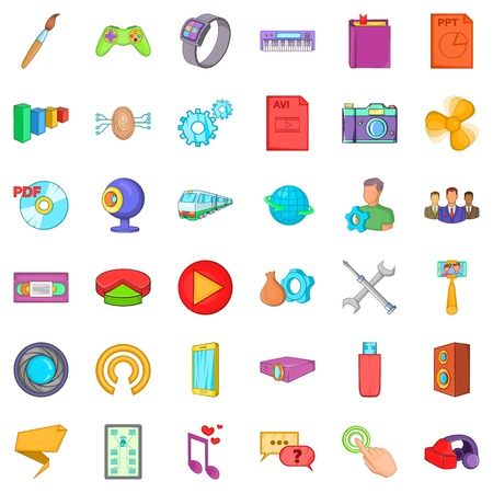 avi: Smart application icons set, cartoon style Illustration