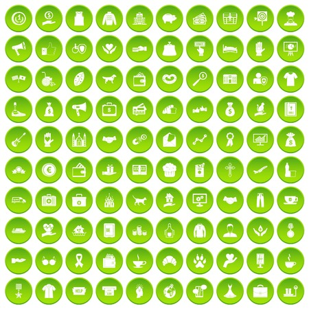100 charity icons set green