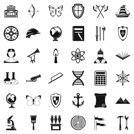roman column: Ancient thing icons set, simple style Illustration