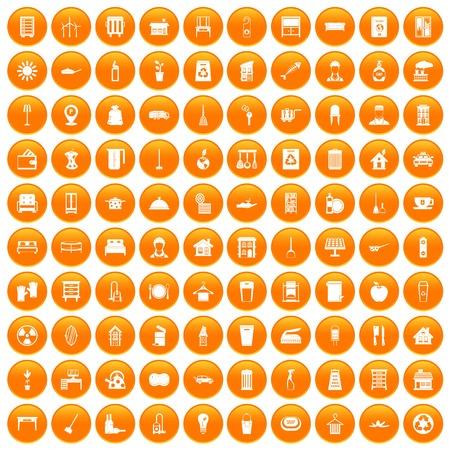 100 cleaning icons set orange